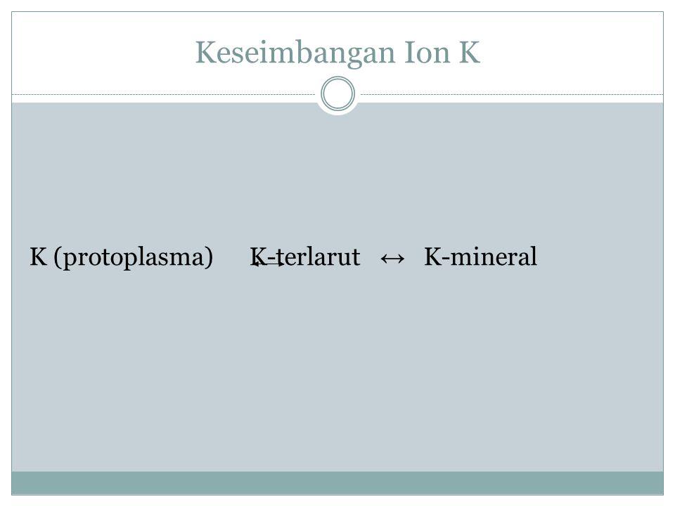 Keseimbangan Ion K K (protoplasma) K-terlarut ↔ K-mineral