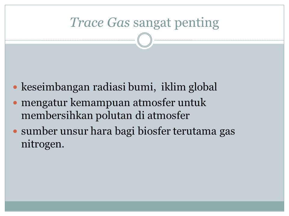 Trace Gas sangat penting
