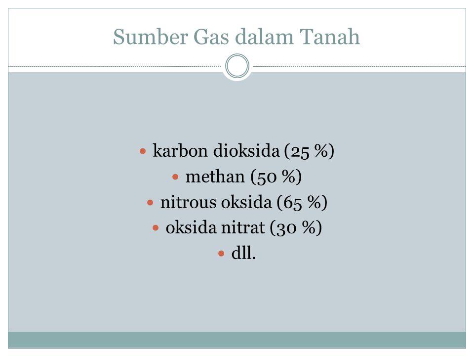 Sumber Gas dalam Tanah karbon dioksida (25 %) methan (50 %)