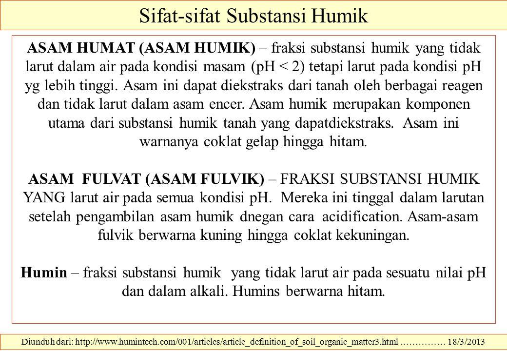 Sifat-sifat Substansi Humik
