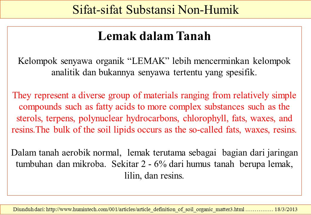 Sifat-sifat Substansi Non-Humik