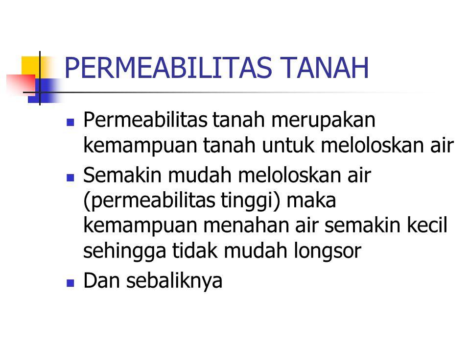 PERMEABILITAS TANAH Permeabilitas tanah merupakan kemampuan tanah untuk meloloskan air.