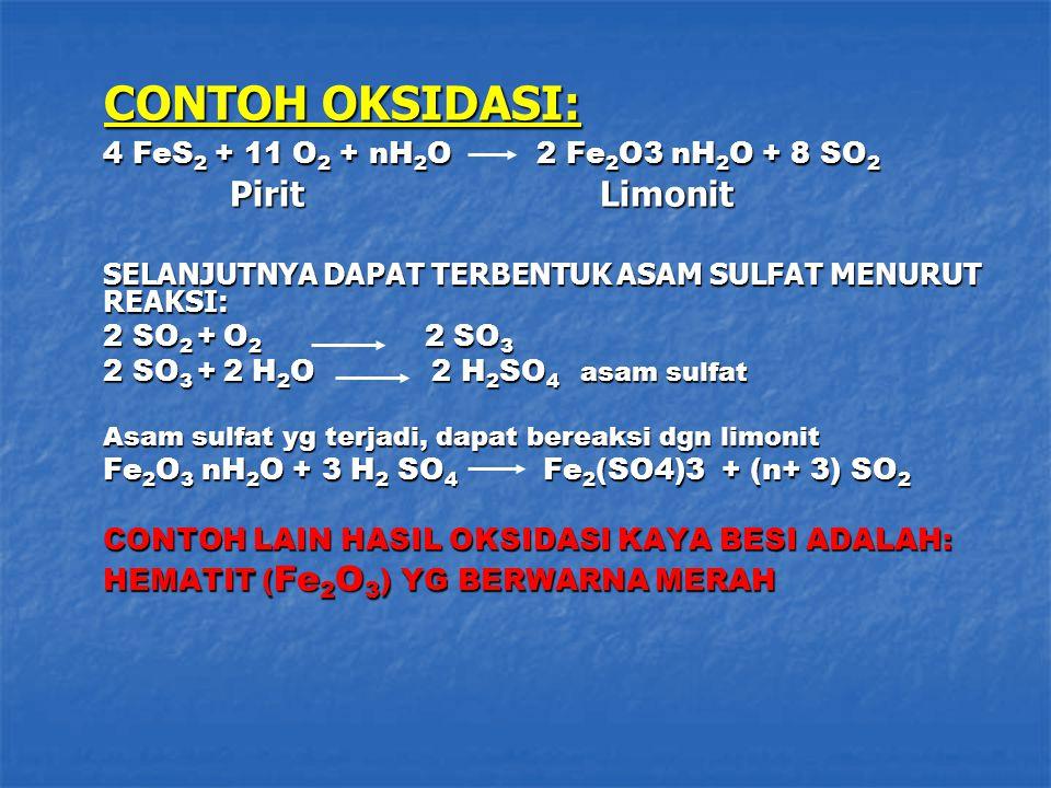 CONTOH OKSIDASI: 4 FeS2 + 11 O2 + nH2O 2 Fe2O3 nH2O + 8 SO2
