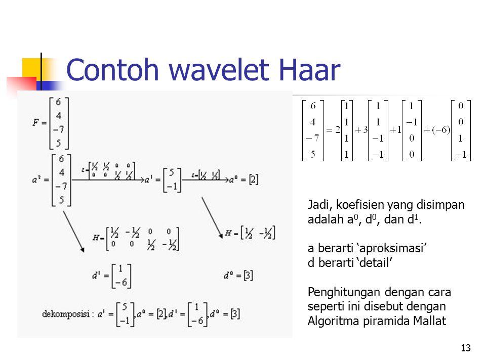 Contoh wavelet Haar Jadi, koefisien yang disimpan
