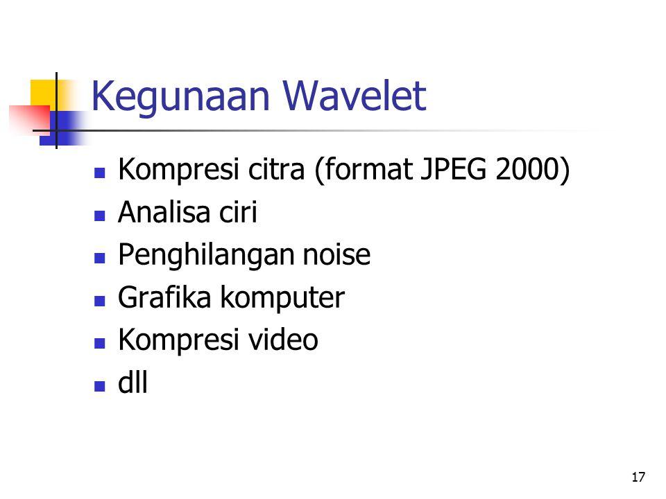 Kegunaan Wavelet Kompresi citra (format JPEG 2000) Analisa ciri