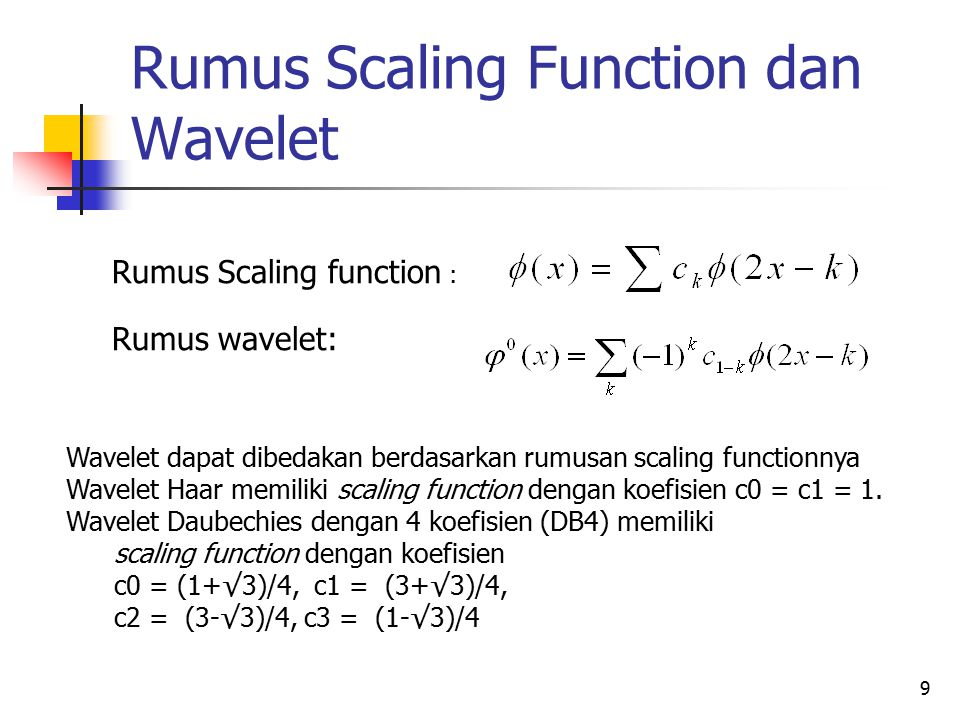 Rumus Scaling Function dan Wavelet