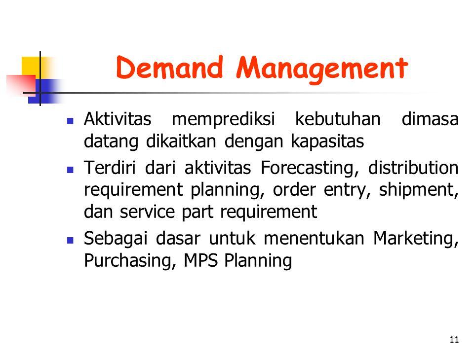 Demand Management Aktivitas memprediksi kebutuhan dimasa datang dikaitkan dengan kapasitas.