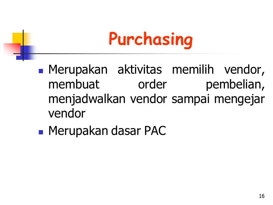 Purchasing Merupakan aktivitas memilih vendor, membuat order pembelian, menjadwalkan vendor sampai mengejar vendor.