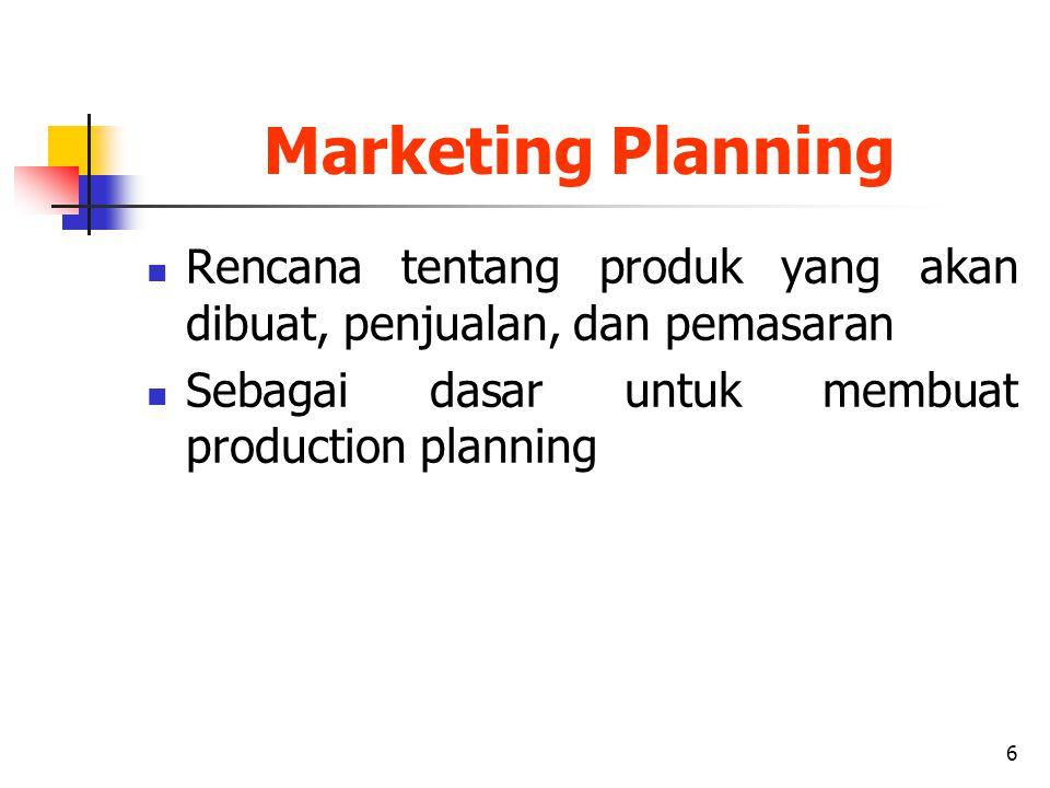 Marketing Planning Rencana tentang produk yang akan dibuat, penjualan, dan pemasaran.
