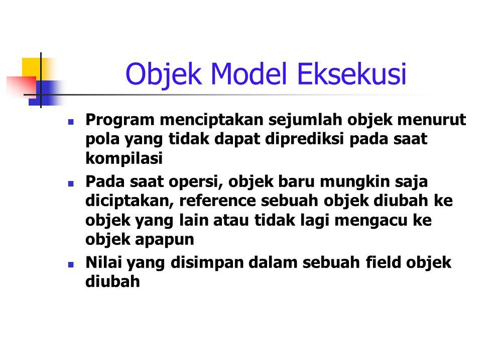 Objek Model Eksekusi Program menciptakan sejumlah objek menurut pola yang tidak dapat diprediksi pada saat kompilasi.