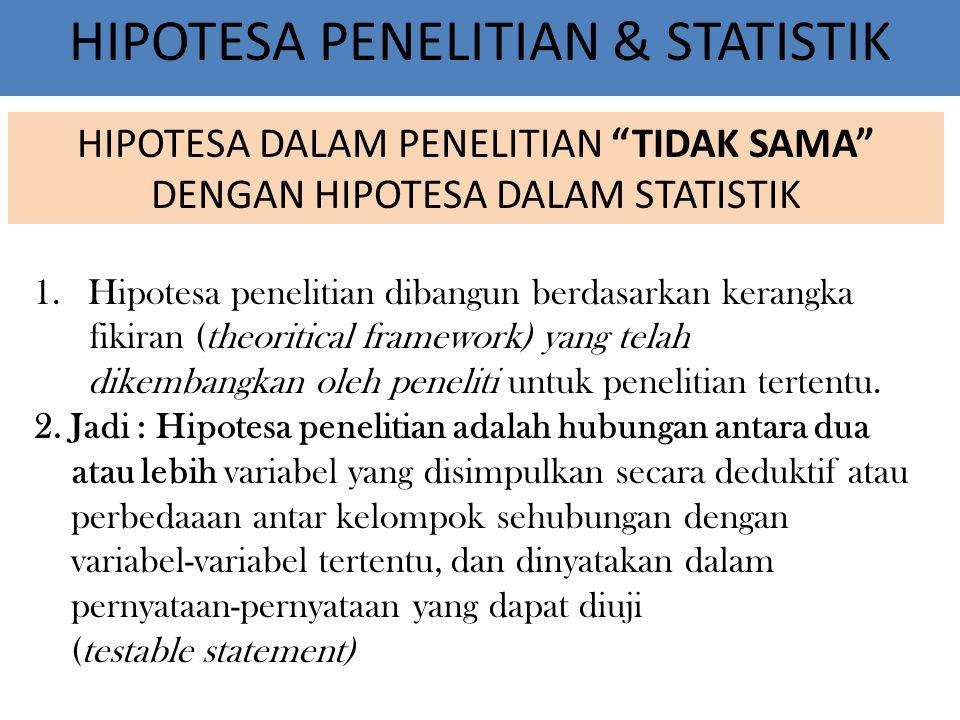 HIPOTESA PENELITIAN & STATISTIK