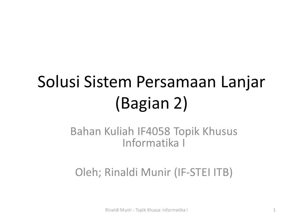Solusi Sistem Persamaan Lanjar (Bagian 2)