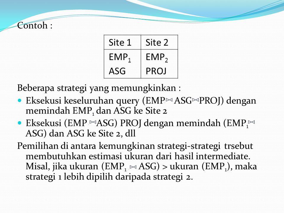 Site 1 Site 2 EMP1 ASG EMP2 PROJ Contoh :