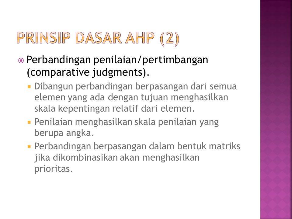 Prinsip dasar ahp (2) Perbandingan penilaian/pertimbangan (comparative judgments).