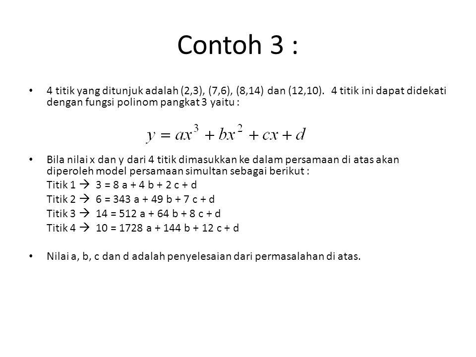 Contoh 3 : 4 titik yang ditunjuk adalah (2,3), (7,6), (8,14) dan (12,10). 4 titik ini dapat didekati dengan fungsi polinom pangkat 3 yaitu :