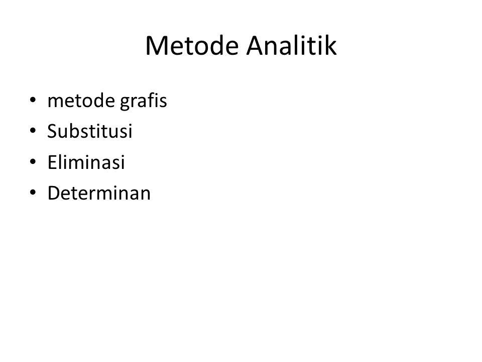 Metode Analitik metode grafis Substitusi Eliminasi Determinan