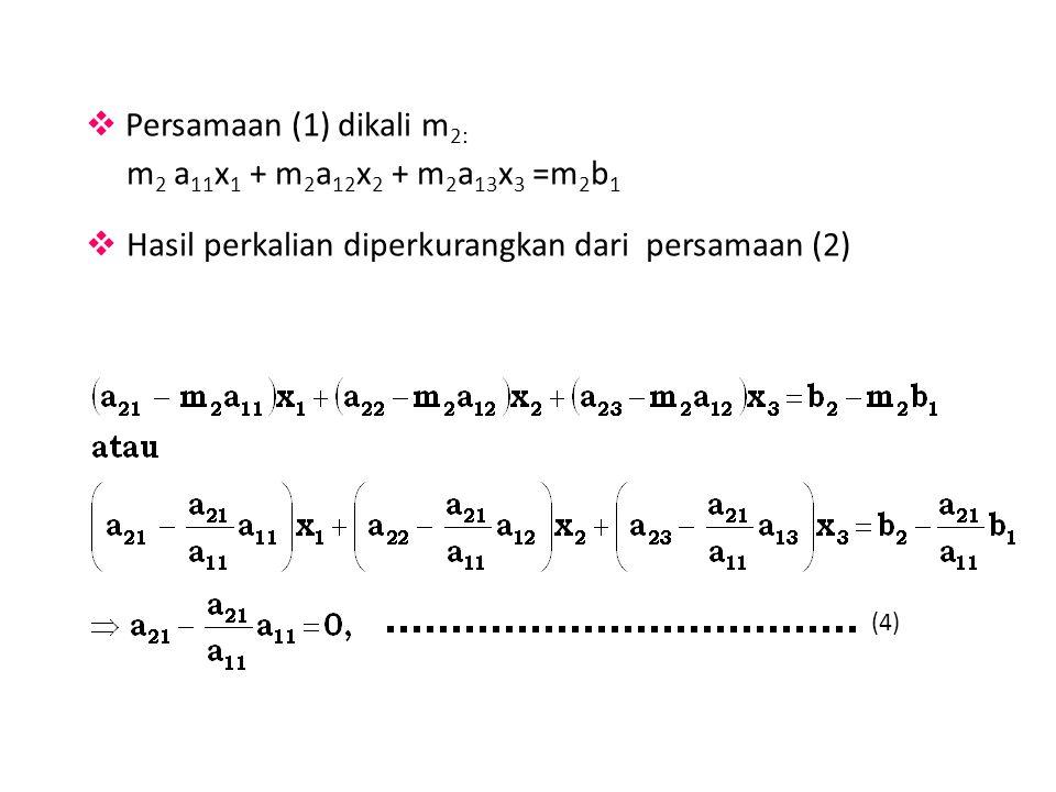 m2 a11x1 + m2a12x2 + m2a13x3 =m2b1 Persamaan (1) dikali m2: