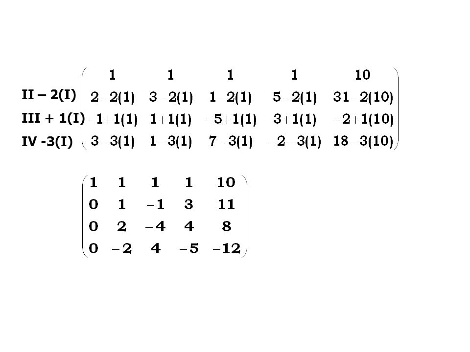 II – 2(I) III + 1(I) IV -3(I)
