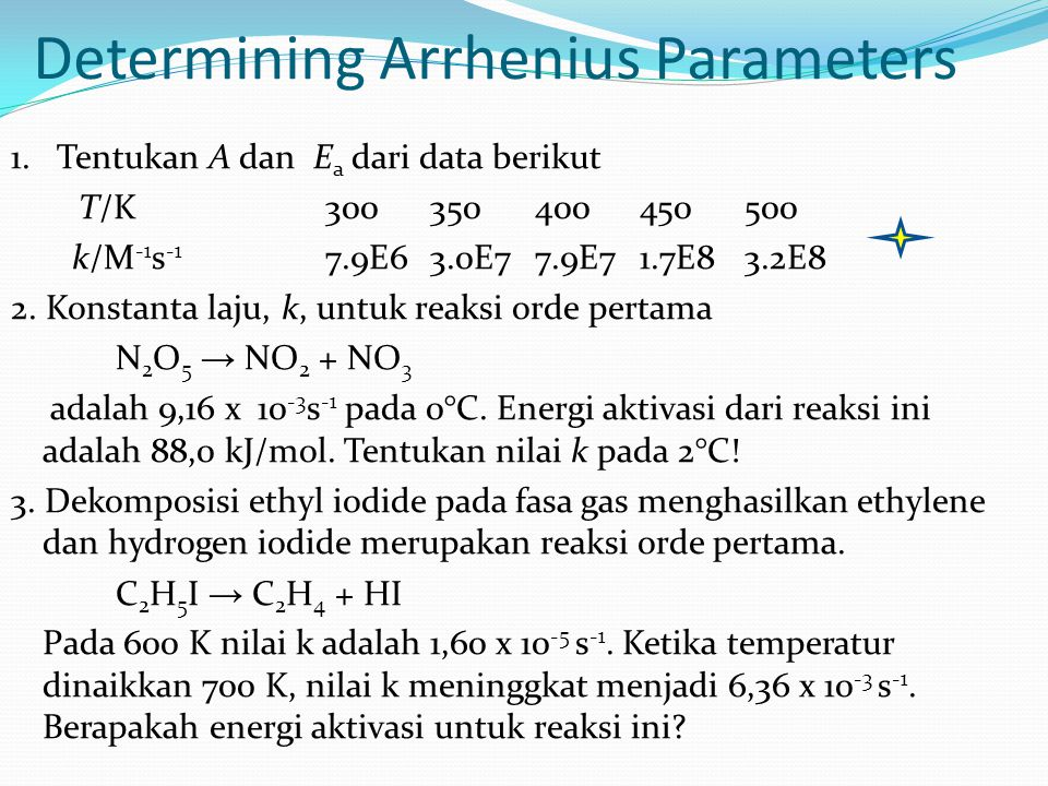 Determining Arrhenius Parameters