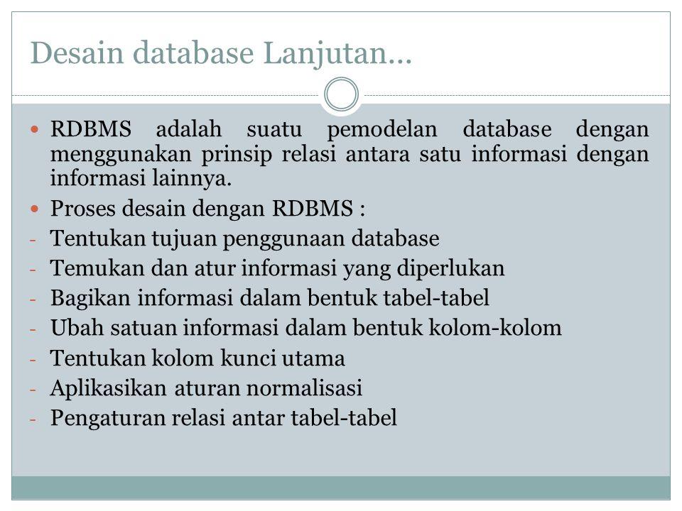 Desain database Lanjutan...