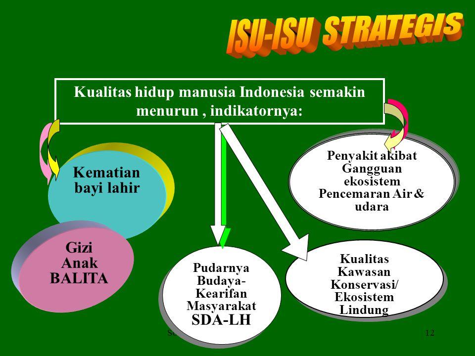 ISU-ISU STRATEGIS Kualitas hidup manusia Indonesia semakin menurun , indikatornya: Penyakit akibat Gangguan ekosistem Pencemaran Air & udara.