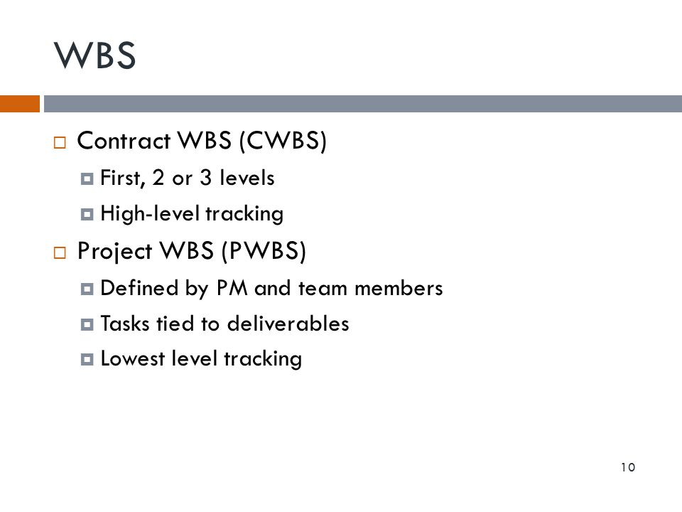WBS Contract WBS (CWBS) Project WBS (PWBS) First, 2 or 3 levels