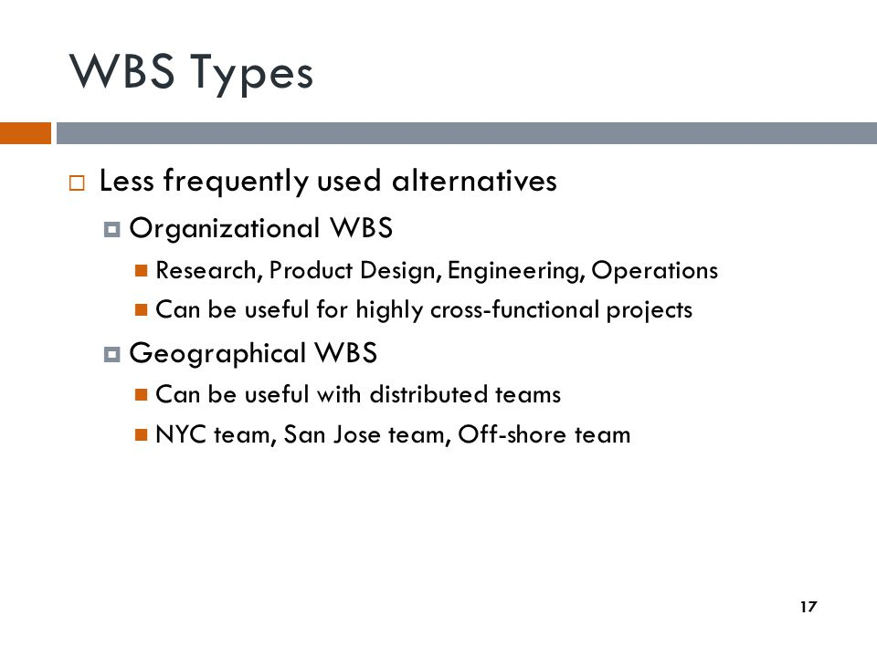 WBS Types Less frequently used alternatives Organizational WBS