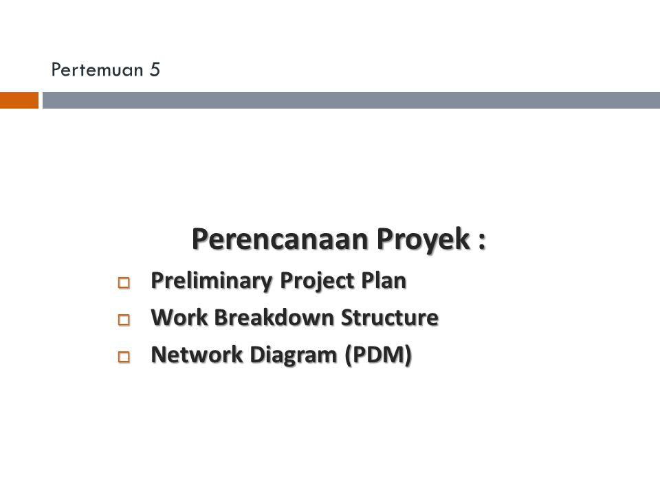 Perencanaan Proyek : Preliminary Project Plan Work Breakdown Structure