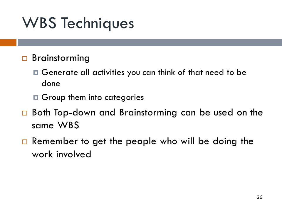 WBS Techniques Brainstorming