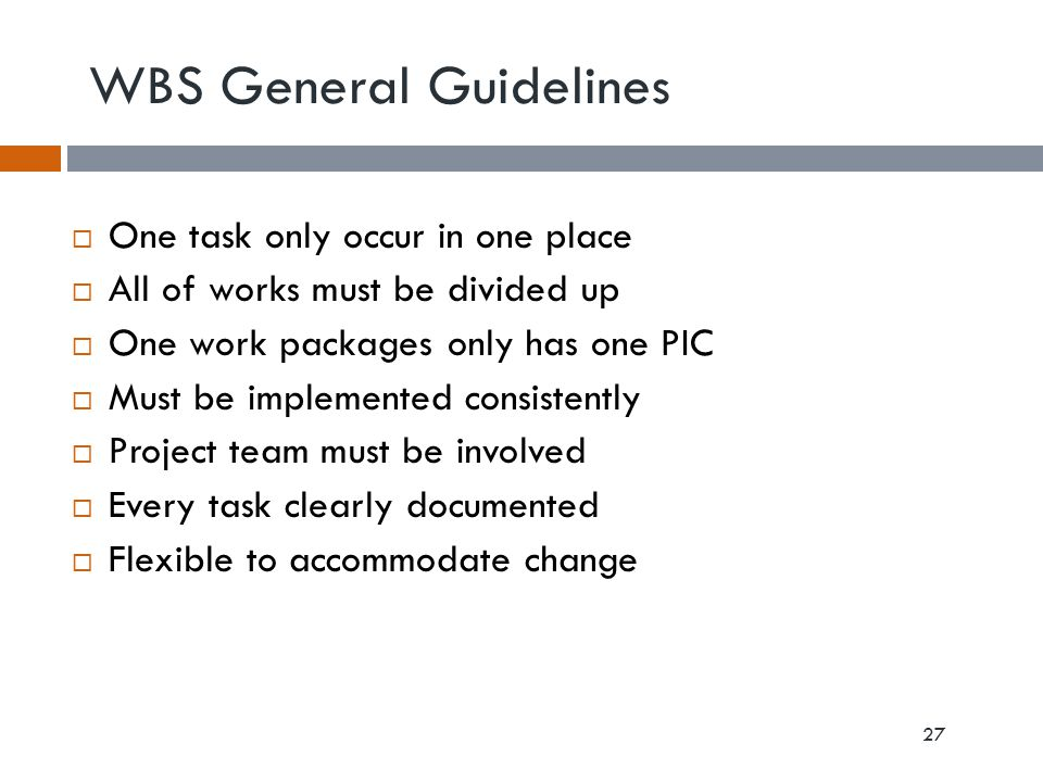 WBS General Guidelines