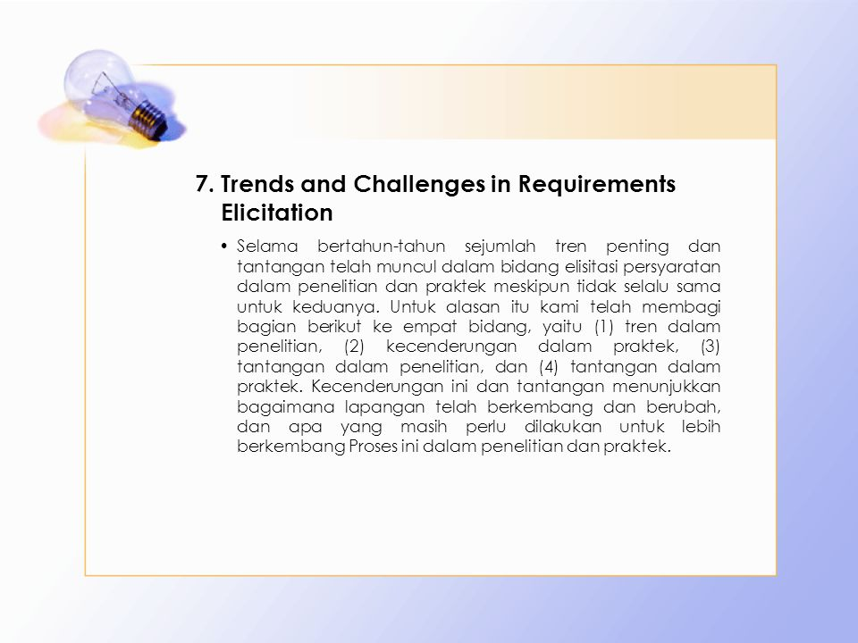 Trends and Challenges in Requirements Elicitation