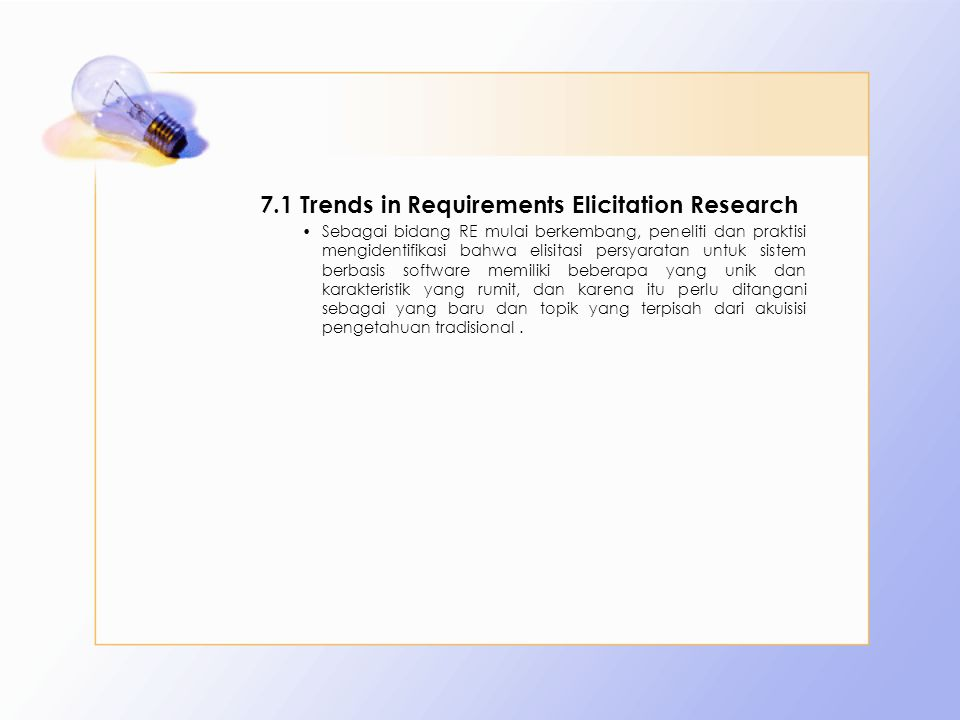 7.1 Trends in Requirements Elicitation Research