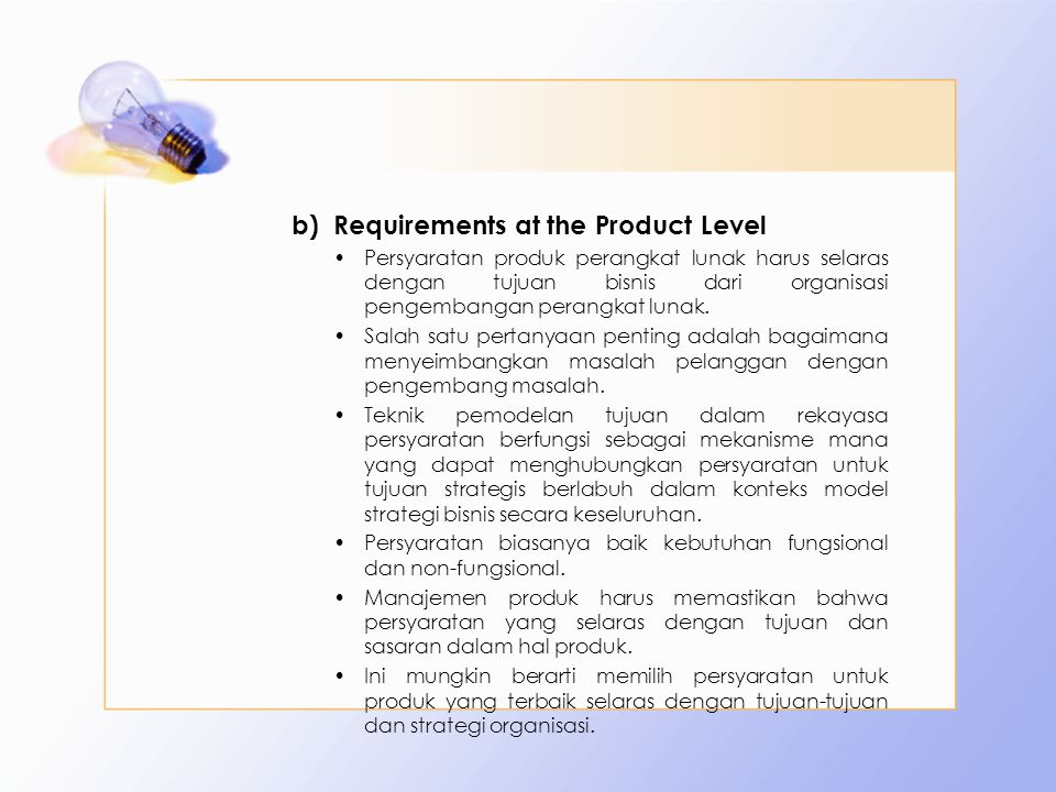 Requirements at the Product Level