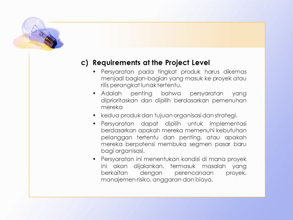 Requirements at the Project Level