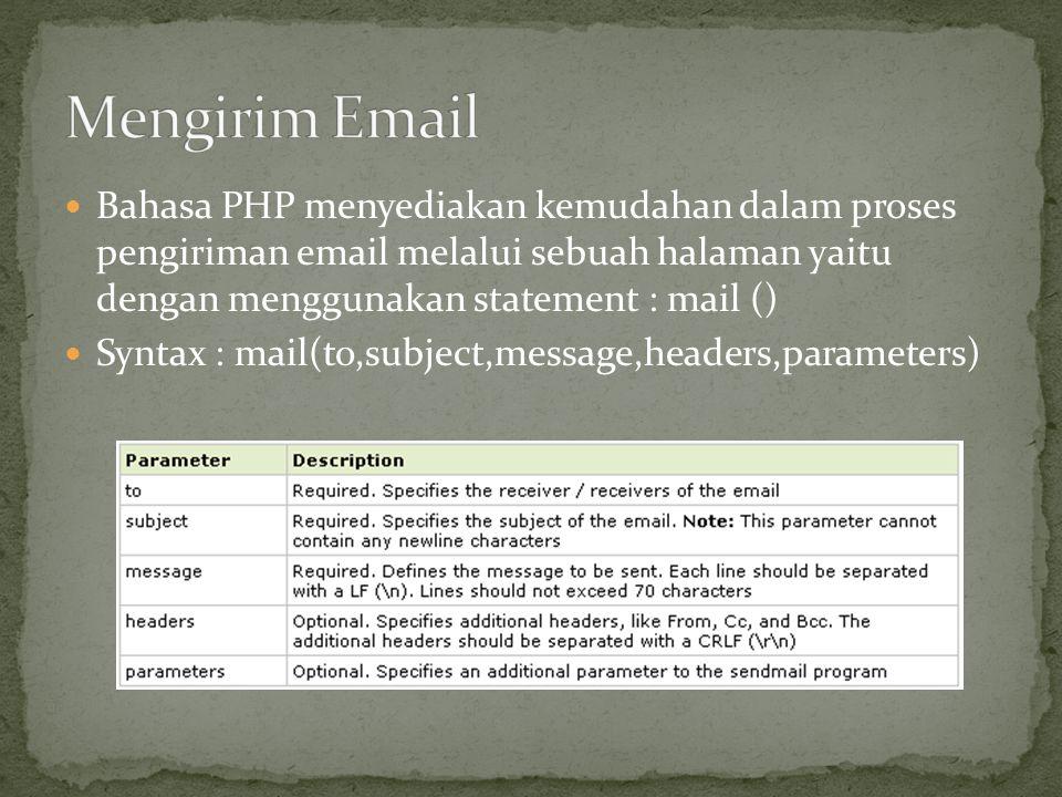 Mengirim Email Bahasa PHP menyediakan kemudahan dalam proses pengiriman email melalui sebuah halaman yaitu dengan menggunakan statement : mail ()