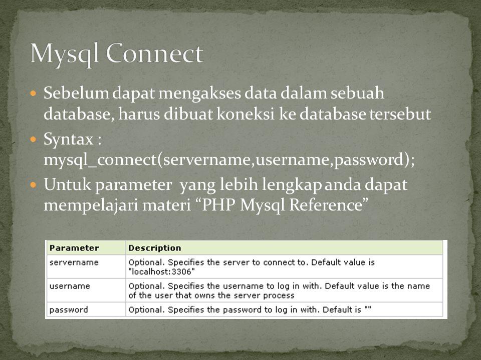Mysql Connect Sebelum dapat mengakses data dalam sebuah database, harus dibuat koneksi ke database tersebut.