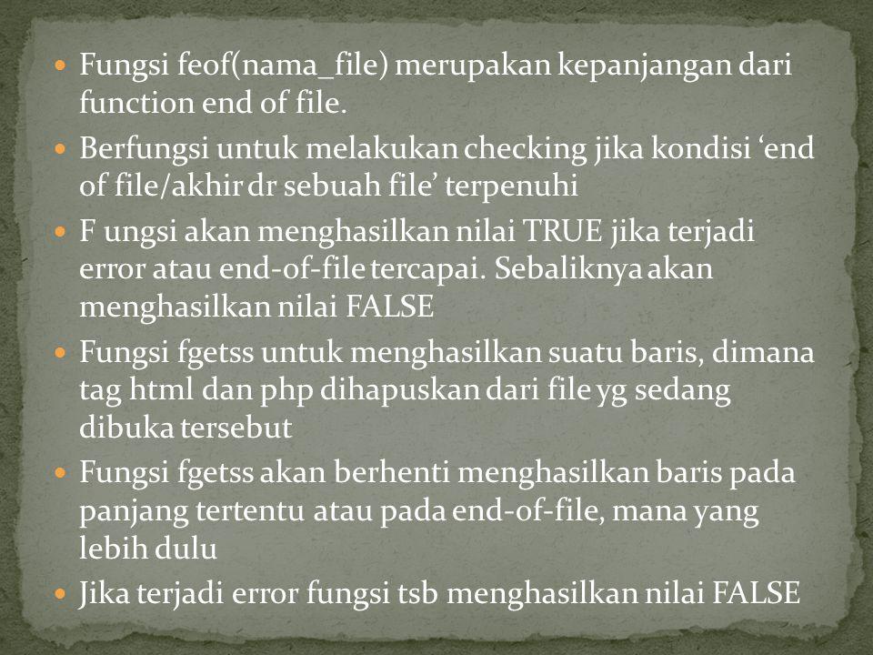 Fungsi feof(nama_file) merupakan kepanjangan dari function end of file.
