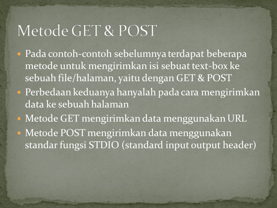 Metode GET & POST