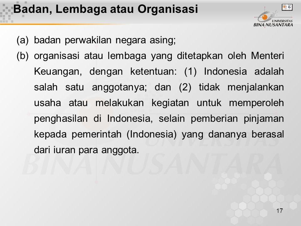 Badan, Lembaga atau Organisasi
