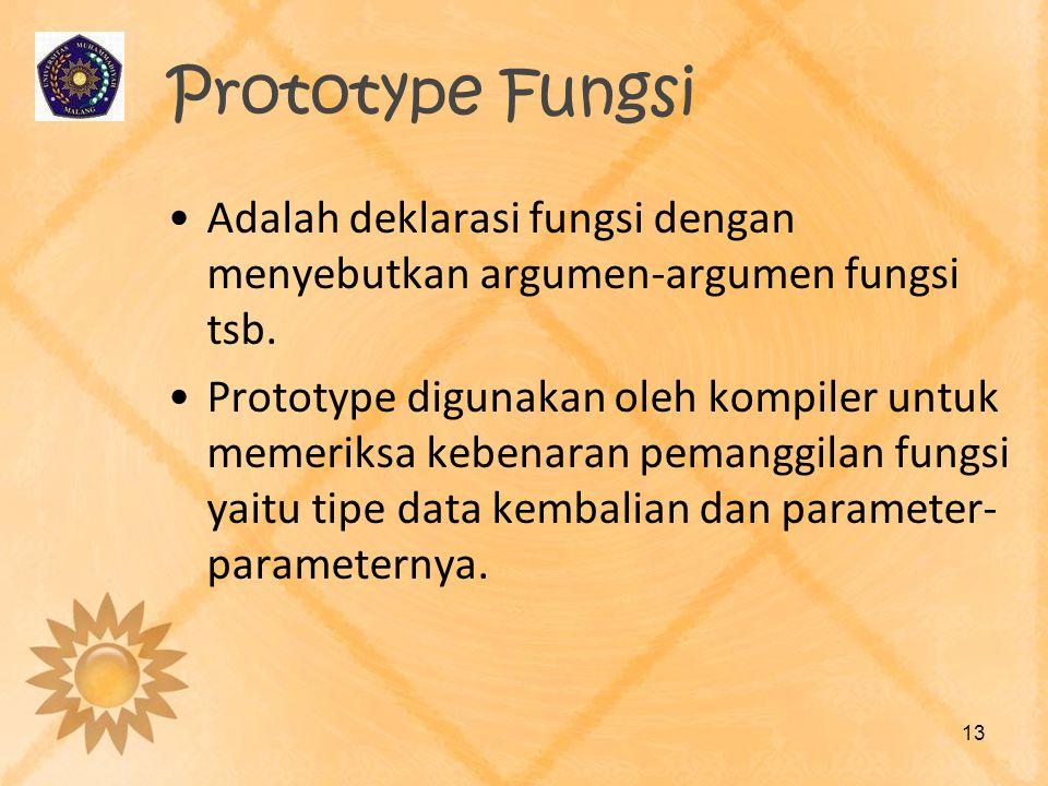 Prototype Fungsi Adalah deklarasi fungsi dengan menyebutkan argumen-argumen fungsi tsb.