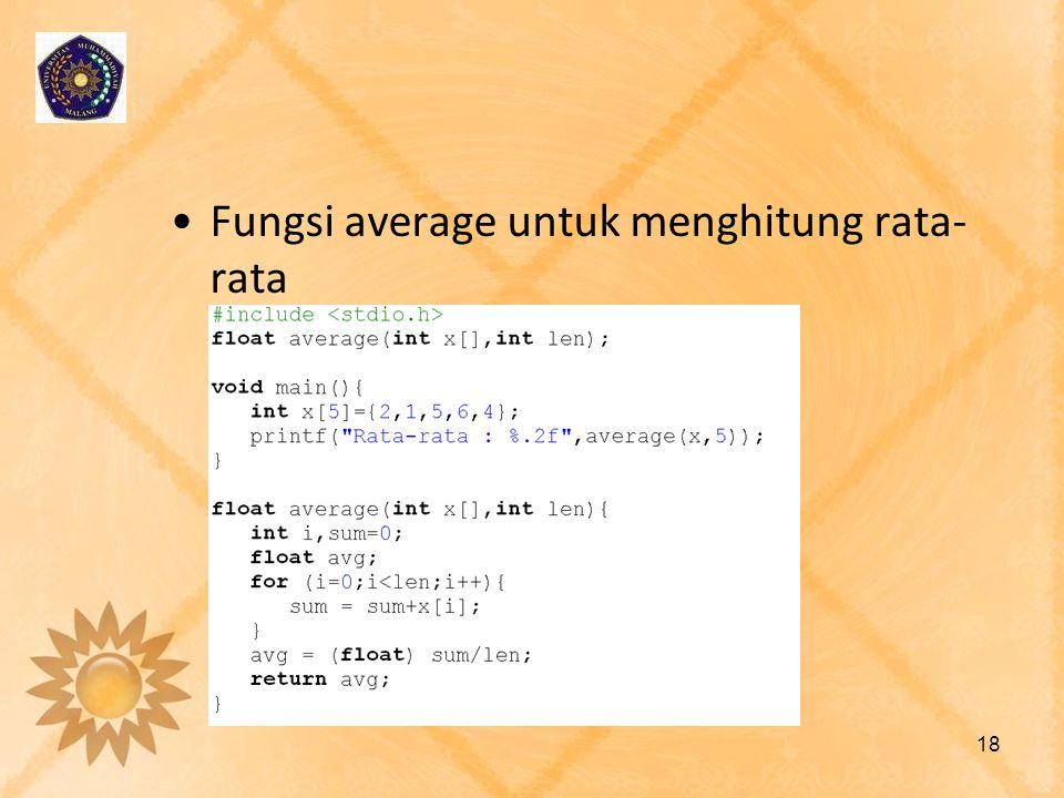 Fungsi average untuk menghitung rata-rata