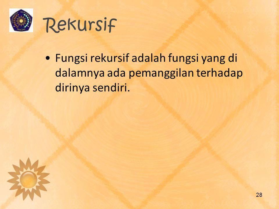 Rekursif Fungsi rekursif adalah fungsi yang di dalamnya ada pemanggilan terhadap dirinya sendiri.