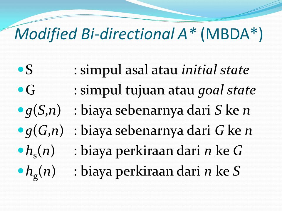 Modified Bi-directional A* (MBDA*)