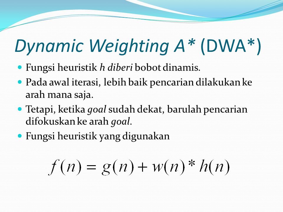 Dynamic Weighting A* (DWA*)