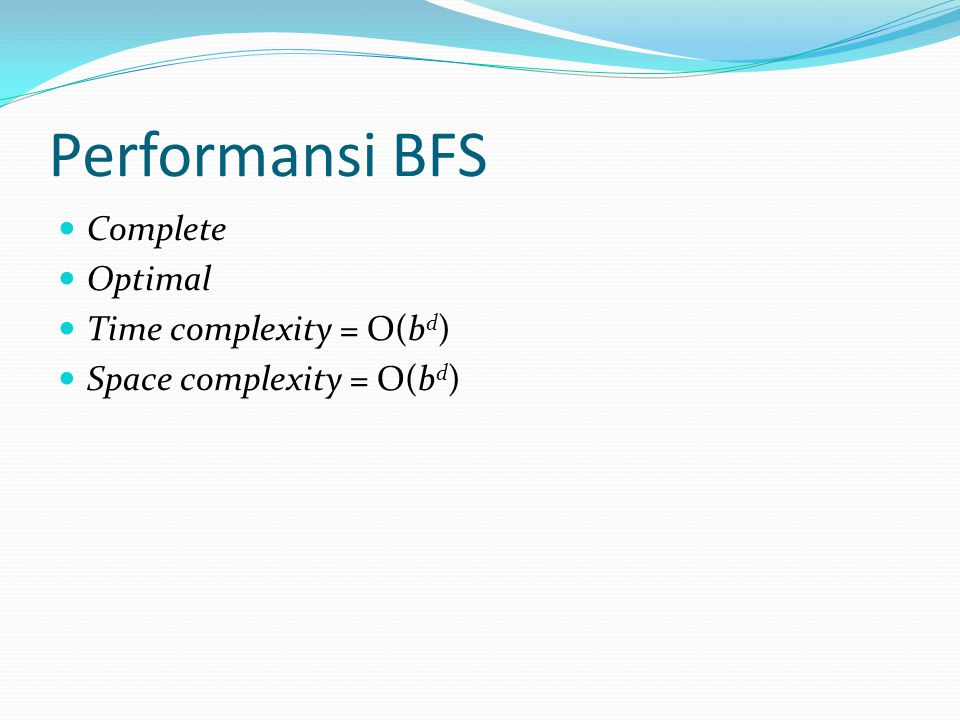 Performansi BFS Complete Optimal Time complexity = O(bd)