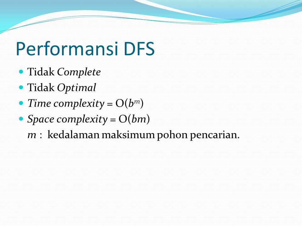 Performansi DFS Tidak Complete Tidak Optimal Time complexity = O(bm)
