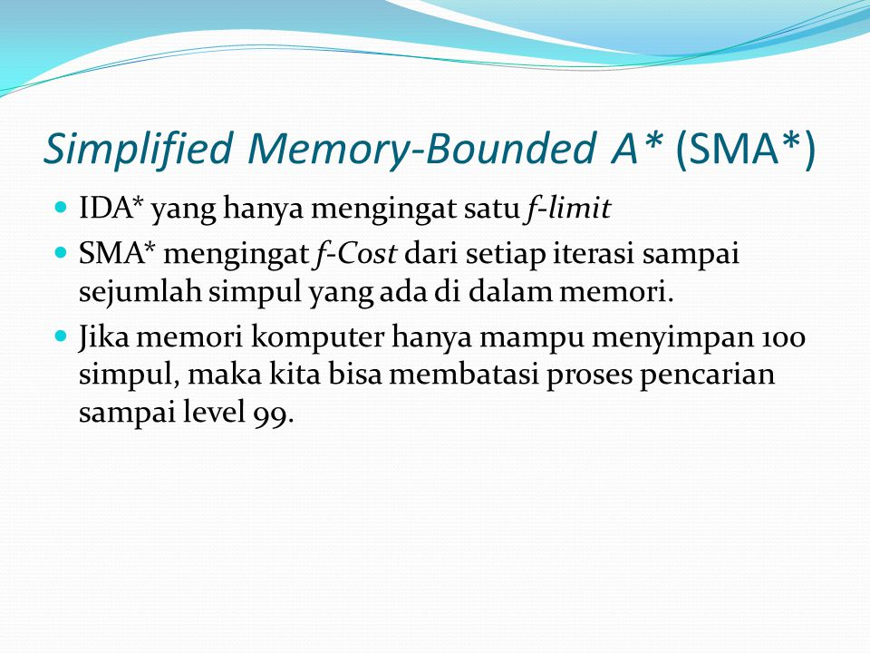 Simplified Memory-Bounded A* (SMA*)