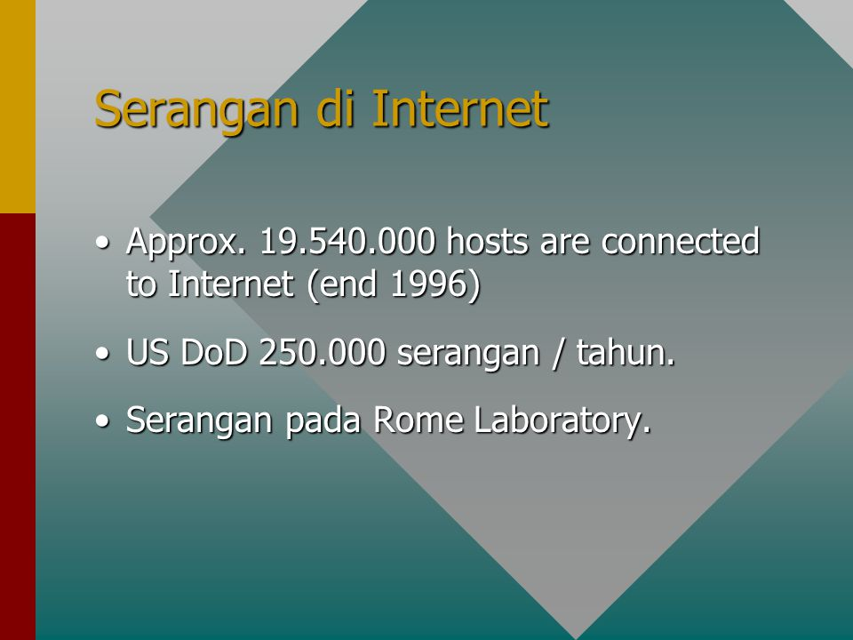 Serangan di Internet Approx. 19.540.000 hosts are connected to Internet (end 1996) US DoD 250.000 serangan / tahun.