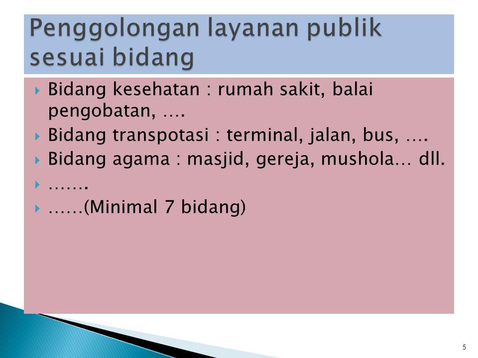 Penggolongan layanan publik sesuai bidang