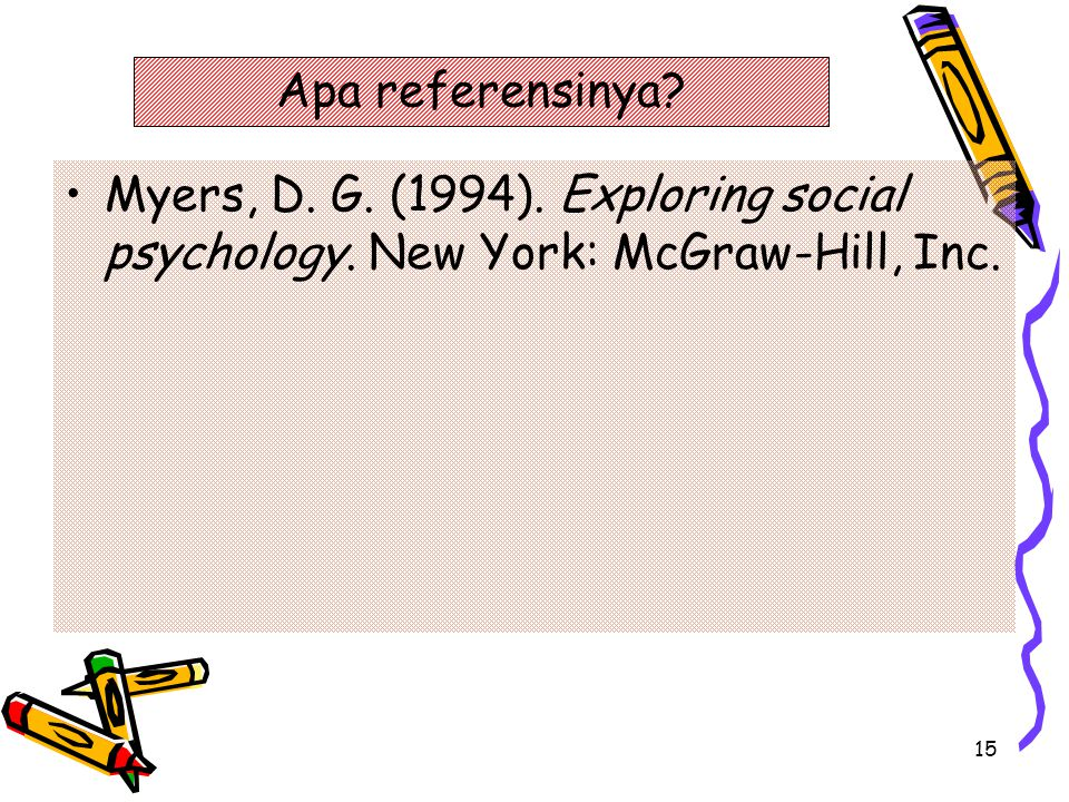 Apa referensinya Myers, D. G. (1994). Exploring social psychology. New York: McGraw-Hill, Inc.